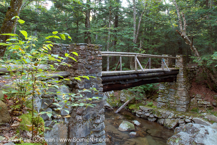 "Built 1923-1924, Memorial Bridge crosses Cold Brook along ""The Link"" trail in Randolph, New Hampshire. This bridge is a memorial to Randolph's early pathmakers (19th-century trail builders). These legendary pathmakers are responsible for cutting many of the trails in the Northern Presidential Range, and they include Eugene B. Cook, J. Rayner Edmands, James Gordon, Hubbard Hunt, Charles E. Lowe, William G. Nowell, William H. Peek, George Sargent, and Laban Watson."
