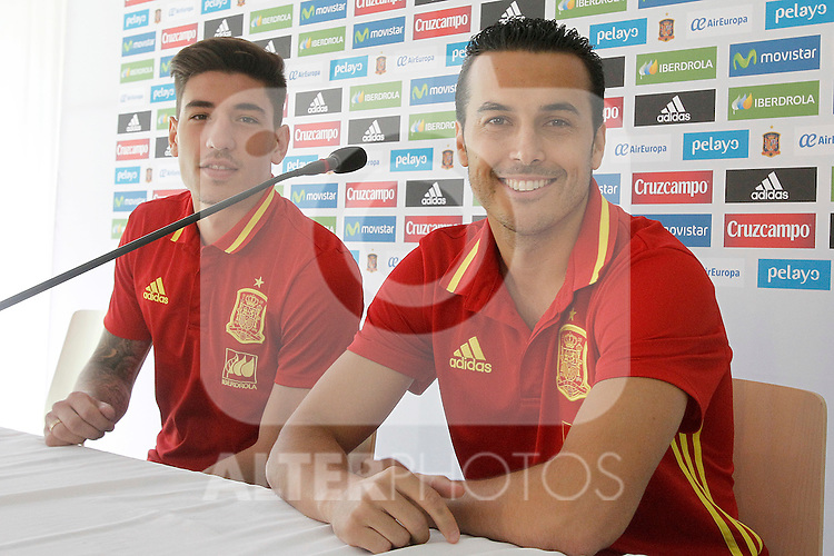 Spain's Hector Bellerin (l) and Pedro Rodriguez in press conference during preparing training stage to Euro 2016. May 30,2016.(ALTERPHOTOS/Acero)
