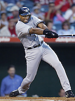Bernie Williams of the New York Yankees bats during a 2002 MLB season game against the Los Angeles Angels at Angel Stadium, in Anaheim, California. (Larry Goren/Four Seam Images)