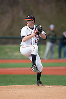 Virginia Cavaliers starting pitcher Nathan Kirby (19) in action against the Hartford Hawks at The Ripken Experience on February 27, 2015 in Myrtle Beach, South Carolina.  The Cavaliers defeated the Hawks 5-1.  (Brian Westerholt/Four Seam Images)