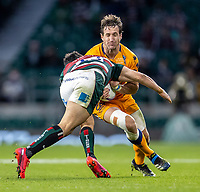 21st May 2021; Twickenham, London, England; European Rugby Challenge Cup Final, Leicester Tigers versus Montpellier; Matias Moroni of Leicester Tigers tackles Vincent Rattez of Montpellier Rugby