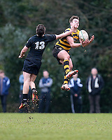 Saturday 18th February 2017   CCB vs RBAI<br /> <br /> Joe Finnegan beats Ben Power to this high ball during the Ulster Schools' Cup Quarter Final clash between Campbell College Belfast and RBAI at Foxes Field, Campbell College, Belmont, Belfast, Northern Ireland.<br /> <br /> Photograph by John Dickson   www.dicksondigital.com