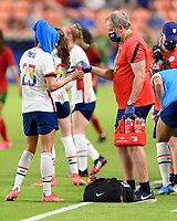 HOUSTON, TX - JUNE 10: Christen Press #23 of the United States taking a water break during a game between Portugal and USWNT at BBVA Stadium on June 10, 2021 in Houston, Texas.