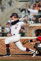 Texas A&M Aggie outfielder Brandon Wood #8 at bat during the NCAA Tournament Regional baseball game against the Dayton Flyers on June 1, 2012 at Blue Bell Park in College Station, Texas. The Aggies defeated the Flyers 4-1. (Andrew Woolley/Four Seam Images).