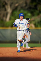 South Dakota State Jackrabbits designated hitter Luke Ira (1) rounds the bases after hitting a home run during a game against the Northeastern Huskies on February 23, 2019 at North Charlotte Regional Park in Port Charlotte, Florida.  Northeastern defeated South Dakota State 12-9.  (Mike Janes/Four Seam Images)