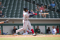 Peoria Javelinas center fielder Cristian Pache (27), of the Atlanta Braves organization, swings at a pitch during an Arizona Fall League game against the Mesa Solar Sox at Sloan Park on October 11, 2018 in Mesa, Arizona. Mesa defeated Peoria 10-9. (Zachary Lucy/Four Seam Images)