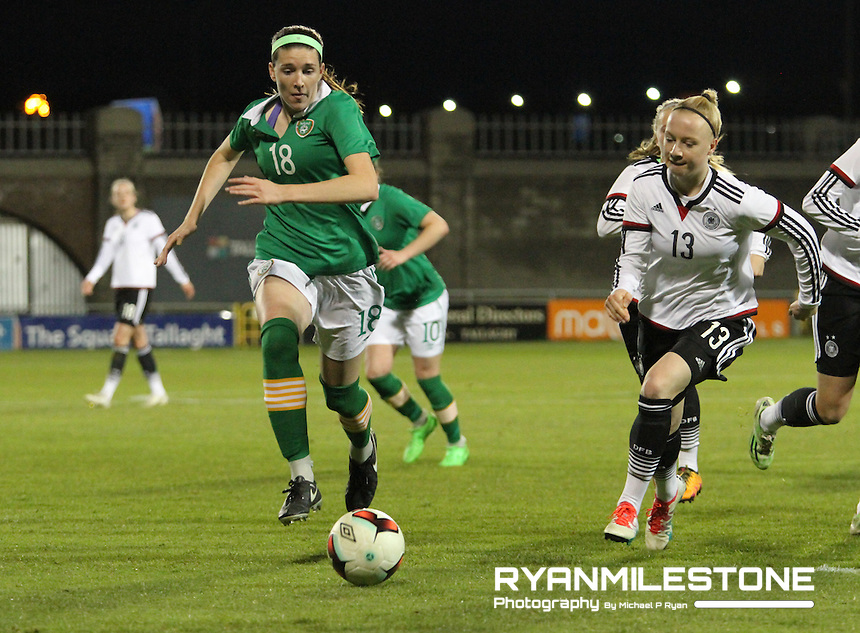 UEFA Women's Under-19 Championship Elite Round Republic of Ireland  V Germany, Tuesday April 5th 2016, Tallaght Stadium, Dublin,  Germany's  Anna Gerhardt in action against Republic of Ireland's Niamh Nelson