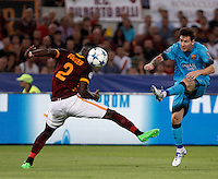 Calcio, Champions League, Gruppo E: Roma vs Barcellona. Roma, stadio Olimpico, 16 settembre 2015.<br /> FC Barcelona's Lionel Messi, right, kicks the ball past Roma's Antonio Ruediger during a Champions League, Group E football match between Roma and FC Barcelona, at Rome's Olympic stadium, 16 September 2015.<br /> UPDATE IMAGES PRESS/Isabella Bonotto