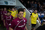 Arbroath 0 Edinburgh City 1, 15/03/2017. Gayfield Park, SPFL League 2. The two teams coming out of the tunnel at Gayfield Park before Arbroath hosted Edinburgh City (in yellow) in an SPFL League 2 fixture. The newly-promoted side from the Capital were looking to secure their place in SPFL League 2 after promotion from the Lowland League the previous season. They won the match 1-0 with an injury time goal watched by 775 spectators to keep them 4 points clear of bottom spot with three further games to play. Photo by Colin McPherson.