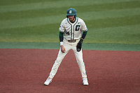 Austin Knight (14) of the Charlotte 49ers takes his lead off of second base against the Tennessee Volunteers at Hayes Stadium on March 9, 2021 in Charlotte, North Carolina. The 49ers defeated the Volunteers 9-0. (Brian Westerholt/Four Seam Images)