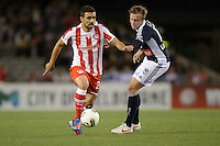 MELBOURNE, AUSTRALIA - MAY 19: Ioannis Maniatis of Olympiakos controls the ball during a match between Melbourne Victory and Olympiakos FC at Etihad Stadium on 19 May 2012 in Melbourne, Australia. (Photo Sydney Low / AsteriskImages.com)