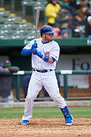 South Bend Cubs Victor Caratini (39) at bat during a rehab assignment in a Midwest League game against the Cedar Rapids Kernels at Four Winds Field on May 8, 2019 in South Bend, Indiana. South Bend defeated Cedar Rapids 2-1. (Zachary Lucy/Four Seam Images)