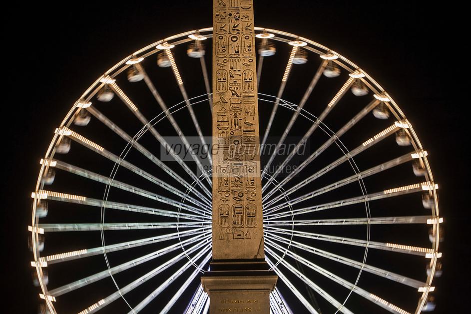 Europe/France/Ile-de-France/75001/Paris: Obélisque  de Louqsor et La Grande Roue Place de La Concorde  //  Europe / France / Ile-de-France / 75001 / Paris: Obélisque de Louqsor and La Grande Roue Place de La Concorde