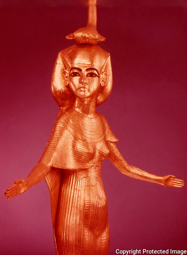 Egypt:  Selket--gilded wood.  Treasures of Tutankhamun, Cairo Museum.  MMA 1976.