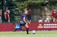 NEWTON, MA - SEPTEMBER 12: Sydney Baldwin #4 of Holy Cross looks to pass during a game between Holy Cross and Boston College at Newton Campus Soccer Field on September 12, 2021 in Newton, Massachusetts.