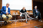The doctor Bonaventura Clotet (L), Madrid Mayor Manuela Carmena (C) and Singer Miguel Bose during the presentation of the 7th edition of Gala Sida for his first time in Madrid. June 21, 2016. (ALTERPHOTOS/BorjaB.Hojas)