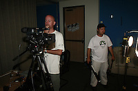 """Saturday August 9, 2008 San Diego, CA.  Members of the production company Renegade Swine Joe Park and Dave Yim  work on the movie """"The Paper Spy"""" in San Diego.  The Renegade Swine team was part of the 48-Hour Film Project, a contest to write, shoot, edit and score an entire movie in just two days."""