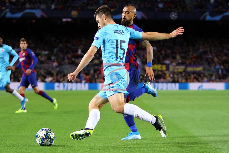 UEFA Champions League 2019/2020.<br /> Matchday 4.<br /> FC Barcelona vs SK Slavia Praha: 0-0.<br /> Ondrej Kudela vs Arturo Vidal.
