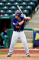 Jake Mahon (25) of the Evansville Purple Aces at bat during a game against the Missouri State Bears at Hammons Field on May 12, 2012 in Springfield, Missouri. (David Welker/Four Seam Images)