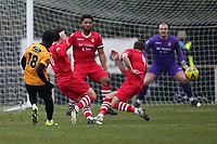 Saidou Khan of Maidstone scores the first goal for his team during Hornchurch vs Maidstone United, Buildbase FA Trophy Football at Hornchurch Stadium on 6th February 2021