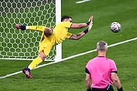 11th July 2021; Wembley Stadium, London, England; 2020 European Football Championships Final England versus Italy; Gianluigi Donnarumma saves an England penalty