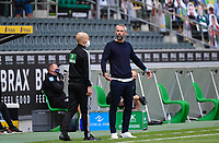 23rd May 2020, BORUSSIA-PARK, North Rhine-Westphalia, Germany; Bundesliga football, Borussia Moenchengladbach versus Bayer Leverkusen; Trainer Marco Rose (BMG) asks the officials a question on their decision