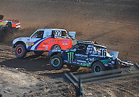 Dec. 10, 2011; Chandler, AZ, USA;  LOORRS pro lite unlimited driver Jacob Person (92) and Cameron Steele (16) during round 15 at Firebird International Raceway. Mandatory Credit: Mark J. Rebilas-