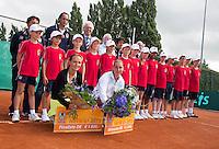 "2013-08-17, Netherlands, Raalte,  TV Ramele, Tennis, NRTK 2013, National Ranking Tennis Champ,  Danielle Harmsen winner and Olga Kalyuzhnaya runner up with their trophy""s posing with ballboys <br /> <br /> Photo: Henk Koster"