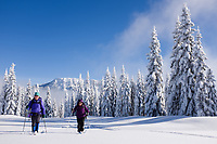 Two smiling women snowshoeing in snow blanketed subalpine meadow, central Cascade Mountains, Washington State, USA
