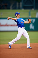 Oklahoma City Dodgers shortstop Charlie Culberson (6) throws to first base during a game against the Colorado Springs Sky Sox on June 2, 2017 at Chickasaw Bricktown Ballpark in Oklahoma City, Oklahoma.  Colorado Springs defeated Oklahoma City 1-0 in ten innings.  (Mike Janes/Four Seam Images)