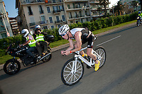 Anthony Pannier races along the Promenade des Anglais, Nice, at the start of the bike course of Ironman France 2012, Nice, France, 24 June 2012