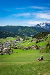 Austria, Salzburger Land, Tennengau, Russbach am Pass Gschuett with Tennen Mountains | Oesterreich, Salzburger Land, Tennengau, Russbach am Pass Gschuett vorm Tennengebirge