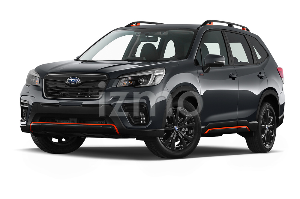 Stock pictures of low aggressive front three quarter view of 2021 Subaru Forester e-Boxer-Sport 5 Door SUV Low Aggressive