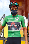 Richard Carapaz (ECU) Ineos Grenadiers wearing the Green Jersey at sign on before the start of Stage 18 of the Vuelta Espana 2020, running 139.6km from Hipódromo de La Zarzuela to Madrid, Spain. 8th November 2020. <br /> Picture: Luis Angel Gomez/PhotoSportGomez | Cyclefile<br /> <br /> All photos usage must carry mandatory copyright credit (© Cyclefile | Luis Angel Gomez/PhotoSportGomez)