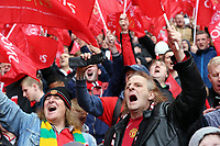 Pictured: Manchester United supporters cheering. Sunday 12 May 2013<br /> Re: Barclay's Premier League, Manchester City FC v Swansea City FC at the Old Trafford Stadium, Manchester.