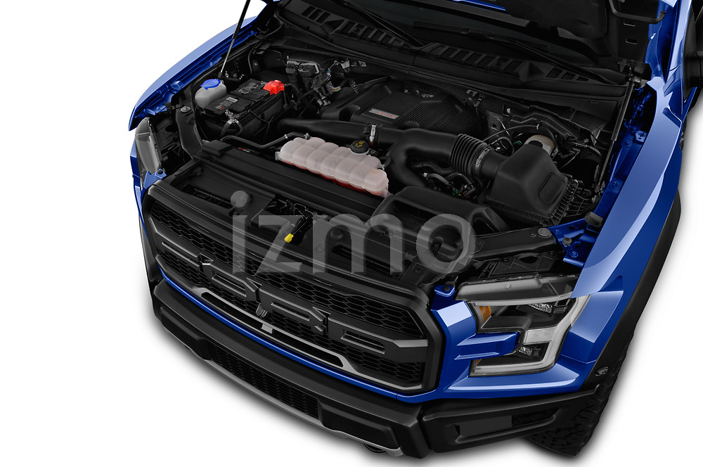 Car stock 2018 Ford F-150 Raptor Select Doors Door Pick Up engine high angle detail view