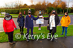 Ursula Barrett (TUI IT Tralee) presenting a cheque for €400 to Geraldine O'Regan at the Debenhams protest site on Tuesday. L to r: Mary Haydon, Trish O'Sullivan, Ursula Barrett, Geraldine O'Regan, Martina Ryan and Joan O'Sullivan.