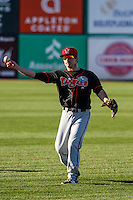 Lansing Lugnuts infielder Aaron Attaway (3) warms up prior to a Midwest League game against the Wisconsin Timber Rattlers on April 29th, 2016 at Fox Cities Stadium in Appleton, Wisconsin.  Wisconsin defeated Lansing 2-0. (Brad Krause/Four Seam Images)