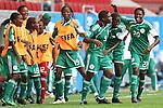 17.07.2010,  Augsburg, GER, FIFA U20 Womens Worldcup, Nigeria vs Japan,  im Bild  freude nach dem 2-0 durch Desire OPARANOZIE (Nigeria Nr.9)  mit Helen UKAONU (Nigeria Nr.17)  und Osinachi OHALE (Nigeria Nr.20) und , Foto: nph /  Straubmeier