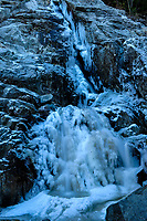 Roaring Brook Falls covered in ice in the Adirondack Mountains of New York State