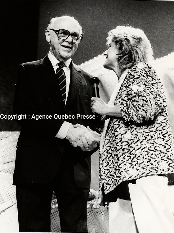 Montreal (QC) CANADA 1986 file photo - Jean Drapeau, dominique michel