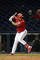 Washington Nationals Yasmany Tomás (25) bats during a Major League Spring Training game against the Miami Marlins on March 20, 2021 at FITTEAM Ballpark of the Palm Beaches in Palm Beach, Florida.  (Mike Janes/Four Seam Images)