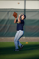 T.J. DelMonte (62), from Ellicott City, Maryland, while playing for the Padres during the Baseball Factory Pirate City Christmas Camp & Tournament on December 30, 2017 at Pirate City in Bradenton, Florida.  (Mike Janes/Four Seam Images)