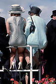 Racegoers view the horses in the Paddock at Epsom Downs racecourse on Derby Day.