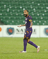23rd May 2021; HBF Park, Perth, Western Australia, Australia; A League Football, Perth Glory versus Macarthur; Diego Castro of Perth Glory  question the referee's decision
