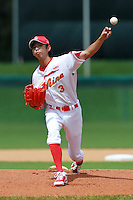 Pitcher Chen Junyi (3) of the China National Team during a game vs. the Washington Nationals Instructional League team at Holman Stadium in Vero Beach, Florida September 28, 2010.   China is in Florida training for the Asia games which will be played in Guangzhou, China in November.  Photo By Mike Janes/Four Seam Images