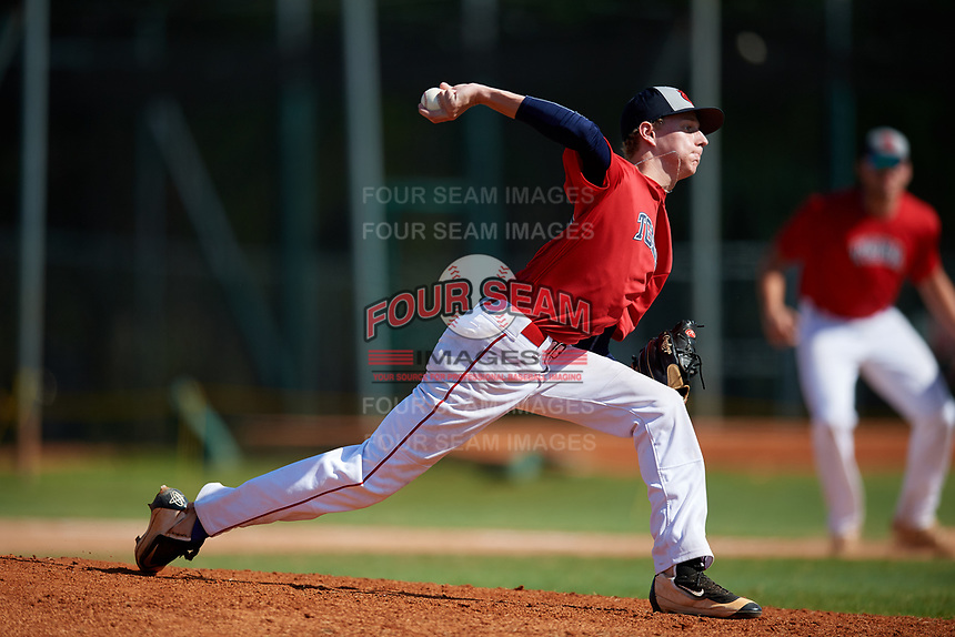 Dalton Skinner during the WWBA World Championship at the Roger Dean Complex on October 21, 2018 in Jupiter, Florida.  Dalton Skinner is a right handed pitcher from Powder Springs, Georgia who attends Hiram High School and is committed to Winthrop.  (Mike Janes/Four Seam Images)