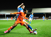 Blackpool's Keshi Anderson is tackled by Peterborough United's Mark Beevers<br /> <br /> Photographer Chris Vaughan/CameraSport<br /> <br /> The EFL Sky Bet League One - Peterborough United v Blackpool - Saturday 21st November 2020 - London Road Stadium - Peterborough<br /> <br /> World Copyright © 2020 CameraSport. All rights reserved. 43 Linden Ave. Countesthorpe. Leicester. England. LE8 5PG - Tel: +44 (0) 116 277 4147 - admin@camerasport.com - www.camerasport.com
