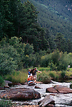 A family of five explores a river habitat in Rocky Mtn Nat'l Park, CO