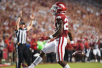 Arkansas running back Trelon Smith (22) celebrates a score, Saturday, September 11, 2021 during the third quarter of a football game at Reynolds Razorback Stadium in Fayetteville. Check out nwaonline.com/210912Daily/ for today's photo gallery. <br /> (NWA Democrat-Gazette/Charlie Kaijo)